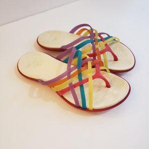 Crocs Rainbow Strappy Flip Flop Sandals Sz 5